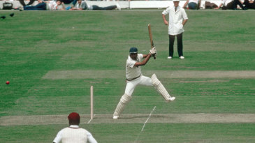 Mohinder Amarnath cuts during his innings of 26 in the final