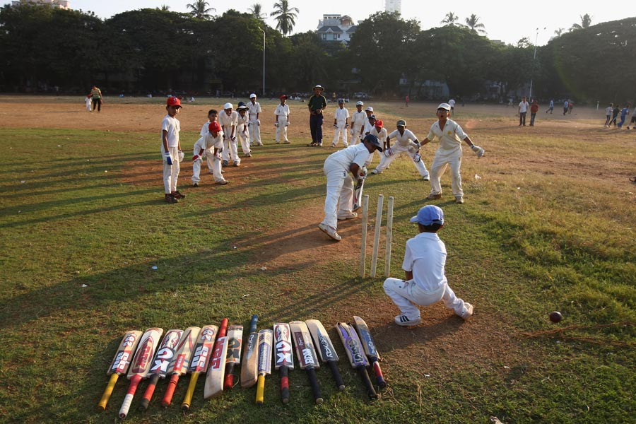 Local youngsters practise at Shivaji Park