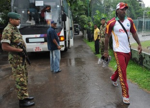 Chris Gayle arrives for practice at the SSC, Colombo, November 21, 2010
