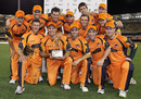 Matthew Hayden and the Aussie Fans' XI celebrate their win, ACA All-Stars v Aussie Fans' XI, Brisbane, November 21, 2010