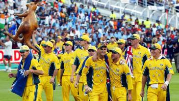 Australia do a lap of the ground after their World Cup win