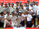 The Indian team celebrates their victory in the Test series against New Zealand, India v New Zealand, 3rd Test, Nagpur, 4th day, November 23, 2010