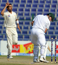Umar Gul bowls Mark Boucher early on the fifth morning