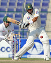 Misbah-ul-haq plays a pull shot en route to his half-century