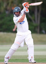 Peter Ingram drives during his 76 off 86 in the second innings, Auckland v Central Districts, Plunket Shield, Auckland, 4th day, November 26, 2010