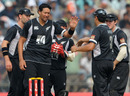 Daryl Tuffey takes his second wicket of the innings, dismissing Yuvraj Singh, India v New Zealand, 1st ODI, Guwahati, November 28, 2010