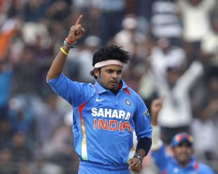 Sreesanth confirmed the victory by taking the final two wickets, India v New Zealand, 1st ODI, Guwahati, November 28, 2010
