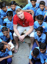 Andrew Flintoff visits the Yusuf Meherali school to donate kits to their cricket team
