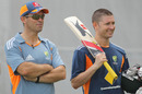 Assistant coach Dene Hills with Michael Clarke at Australia's training session, Adelaide, December 1, 2010