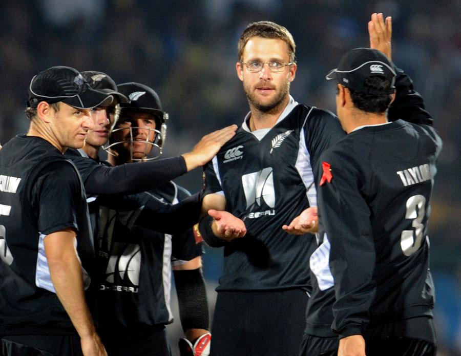 Daniel Vettori celebrates the dismissal of M Vijay