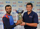 Captains Nawroz Mangal and Gordon Drummond pose with the trophy, Afghanistan v Scotland,  ICC Intercontinental Cup final, Dubai, December 1, 2010