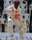 Shivnarine Chanderpaul defends on the second day
