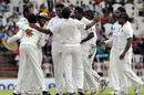 Sri Lanka celebrate after Ajantha Mendis dismissed Shivnarine Chanderpaul