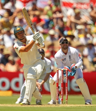 Shane Watson hit one six off Graeme Swann in the course of his half-century, Australia v England, 2nd Test, Adelaide, December 3, 2010