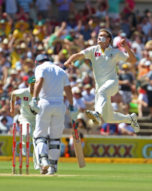 Doug Bollinger leaps for joy after bowling Andrew Strauss, Australia v England, 2nd Test, Adelaide, 2nd day, December 4, 2010