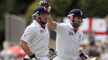 Ian Bell and Matt Prior run off after the declaration