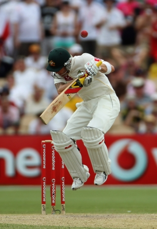 Michael Clarke was tested by the short ball early in his innings,