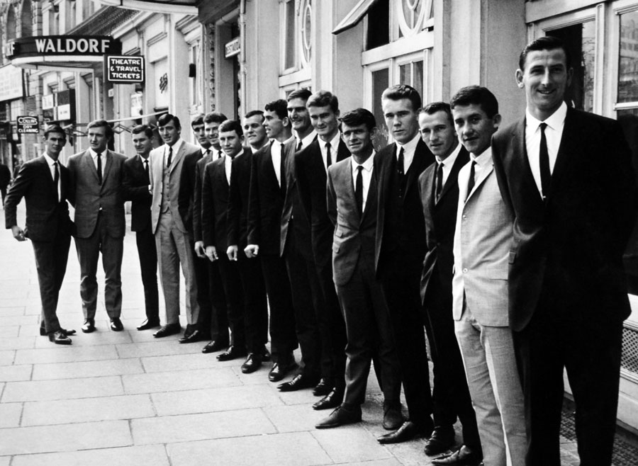 Joslin (fourth from right) in London with the 1968 Ashes squad