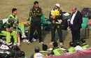 Javed Miandad, who is a consultant with the Pakistan team, speaks to the players during a training session, Lahore, December 8, 2010