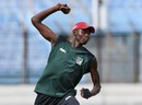 Chris Mpofu takes part in a fielding drill