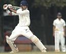 K Vasudevadas plays a square cut during his 99, Tamil Nadu v Mumbai, Ranji Trophy Super League 2010-11, Chennai