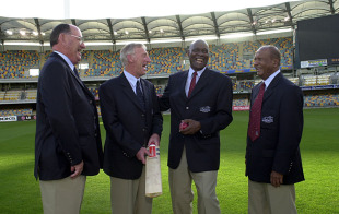 The final four protagonists of the tied Test: Australia's Ian Meckiff and Lindsay Kline with West Indies' Wes Hall and Joe Solomon at the 40-year reunion, Brisbane, November 20, 2000