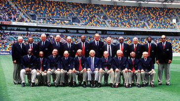 The Australian and West Indian players who played the first tied Test at the 40-year reunion