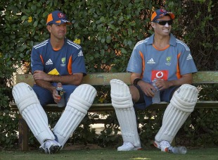 Ricky Ponting and Mike Hussey wait for their stint in the nets, Perth, December 14, 2010