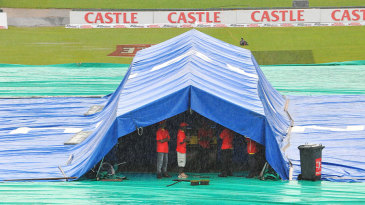 A tent protects the pitch from the rain