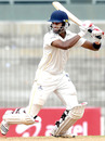 Arun Karthik drives during his half-century