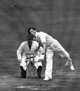 Vince Broderick bowling in the Test Trial, England XI v The Rest, Edgbaston, June 2, 1948