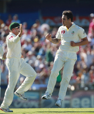 Mitchell Johnson began his second-innings work by removing Andrew Strauss, Australia v England, 3rd Test, Perth, 3rd day, December 18, 2010