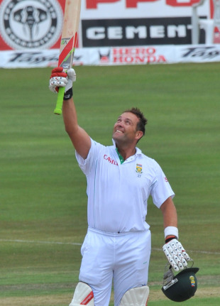 Jacques Kallis looks to the heavens after reaching his double-century, South Africa v India, 1st Test, Centurion, 3rd day, December 18, 2010
