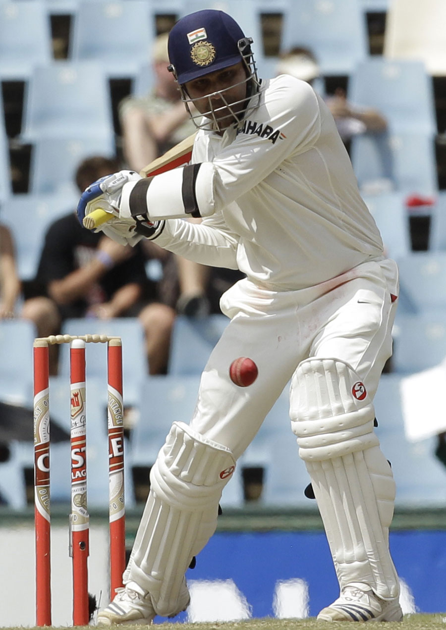 Virender Sehwag lines up for a big hit