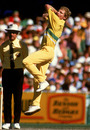 Peter Taylor bowls, Australia v West Indies, 4th match, Benson & Hedges World Series, Melbourne, December 15, 1988
