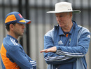 Ricky Ponting and Greg Chappell discuss a point at Australia's training session