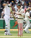 Kevin Pietersen gestures at his bat after a disputed review decision
