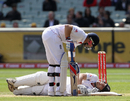 Jonathan Trott was struck a painful blow on the knee off an inside edge
