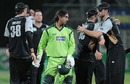 Shoaib Akhtar shakes hands with New Zealand players after the match, New Zealand v Pakistan, 2nd Twenty20, Hamilton, December 28, 2010