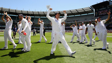 England celebrate their emphatic win at the MCG that ensured England retain the Ashes