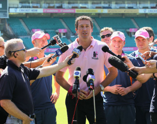 "Glenn McGrath, flanked by Michael Clarke, Brad Haddin and Shane Watson, promotes the ""Pink Test"", Sydney, January 1, 2011"