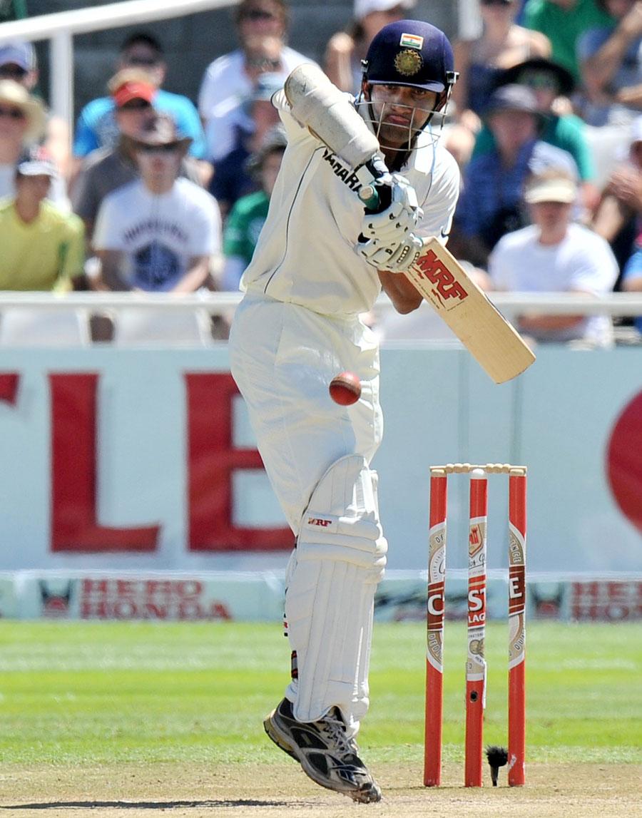 Gautam Gambhir plays a defensive stroke