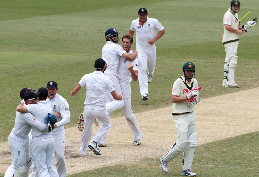 Chris Tremlett is mobbed after bowling Michael Beer to secure the 3-1 Ashes win