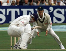 Mark Butcher ducks a short ball as Brian McMillan looks on from the slips, England v South Africa, 5th Test, 3rd day, August 8, 1998