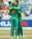 Rusty Theron is congratulated on getting the wicket of Yusuf Pathan