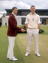 Keith Andrew and Ted Dexter prepare to toss, Northants v Sussex, Wantage Road, June 13, 1962