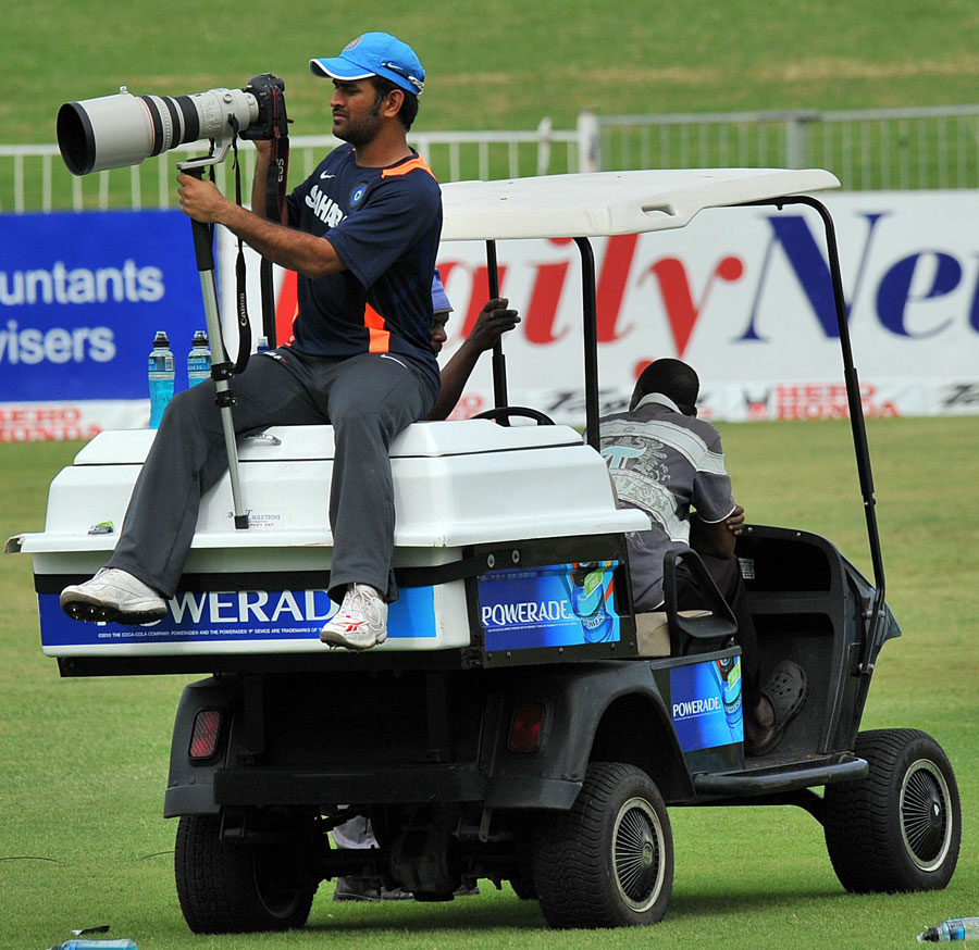 MS Dhoni surveys the scene ahead of the first ODI