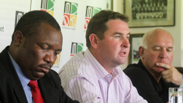 Chairman of selectors Alistair Campbell, coach Alan Butcher and team manager Lovemore Banda at the announcement of Zimbabwe's World Cup squad