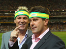 Mark Taylor and Shane Warne talk into the cameras while wearing headbands, Australia v England, 2nd Twenty20, MCG, January 14, 2011
