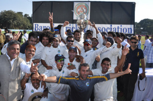 Rajasthan are jubilant after winning their first ever Ranji Trophy, Baroda v Rajasthan, Ranji Trophy Final, Vadodara, January 15, 2011